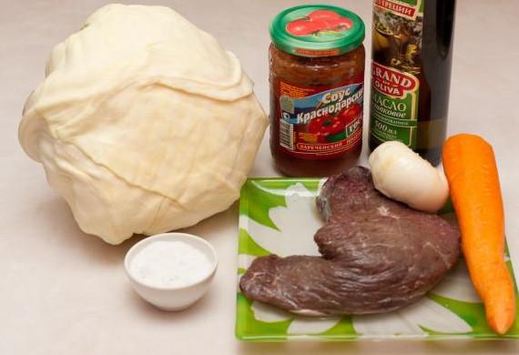 Капуста тушеная с мясом в мультиварке