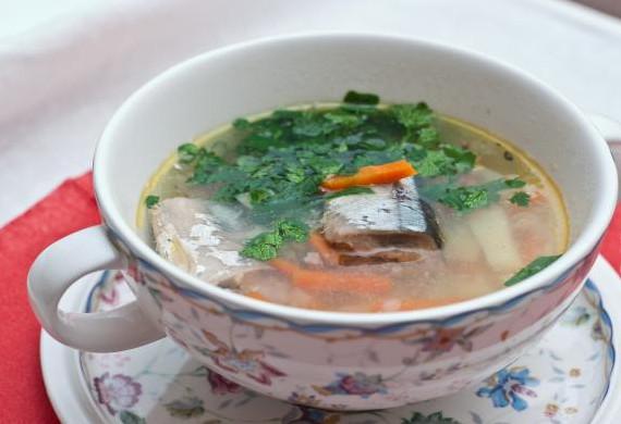 Суп из сайры консервированной16