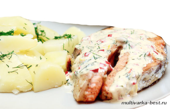Семга с картофелем на пару