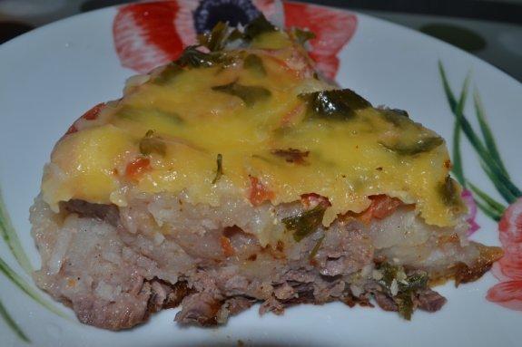 Картофельная шуба с мясом в мультиварке